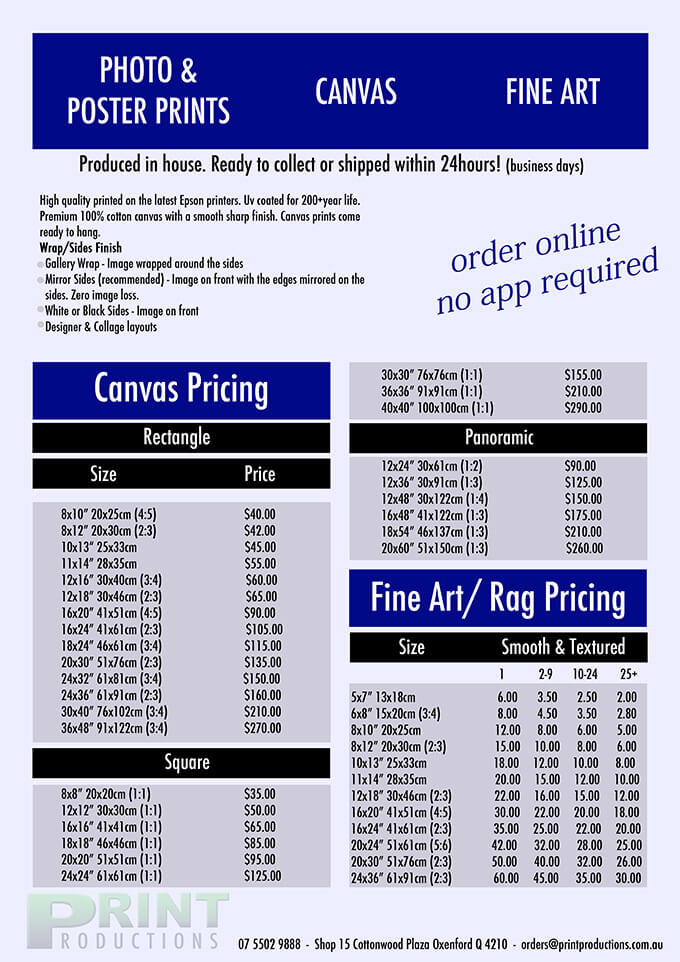 Price List - Print Productions